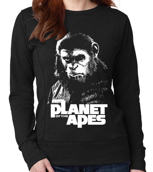 """Planet of the Apes"" Cult Movie - Ladies Black Sweatshirt"