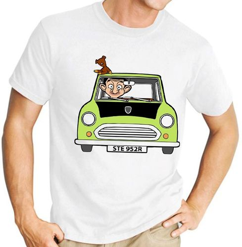 Cartoon Mr Bean - Variation with Teddy Bear only - Mens White Tee Shirt