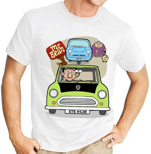 Cartoon Mr Bean - Variation with 3 Wheeler and Woman - Mens White Tee Shirt