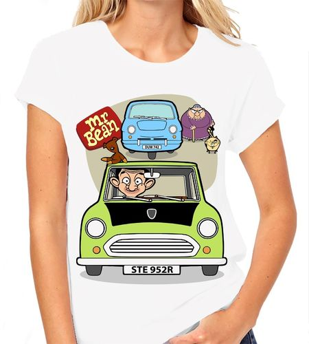 Cartoon Mr Bean - Variation with 3 Wheeler and Woman - Ladies White Tee Shirt