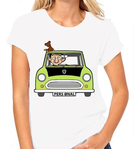 Cartoon Mr Bean Personalised - Variation with Teddy Bear only - Ladies White Tee Shirt