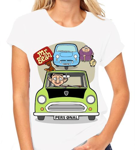 Cartoon Mr Bean Personalised - Variation with 3 Wheeler and Woman - Ladies White Tee Shirt