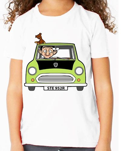 Cartoon Mr Bean Personalised - Variation with Teddy Bear only - Childs White Tee Shirt