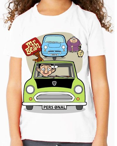 Cartoon Mr Bean Personalised - Variation with 3 Wheeler and Woman - Childs White Tee Shirt