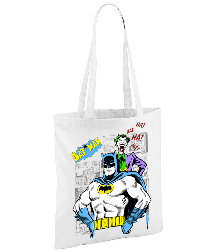 Classic Batman and Joker Comic Book Graphic Novel - White Shopper Bag