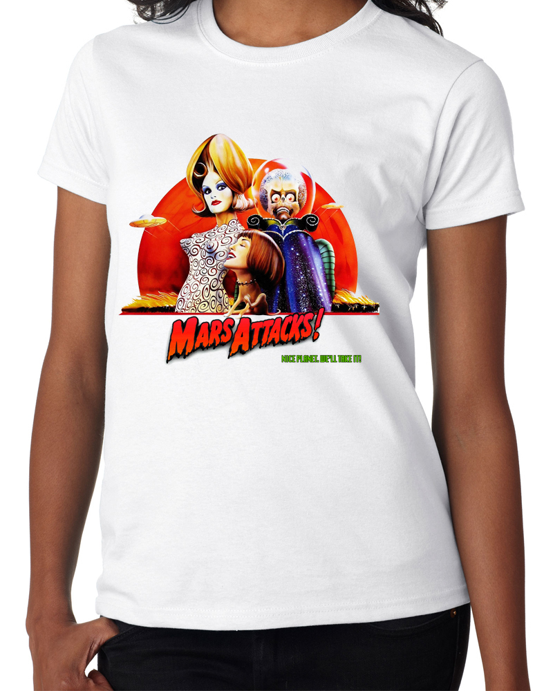 "Classic Movie ""Mars Attacks"" - Ladies White Tee Shirt"