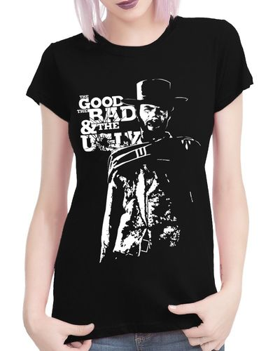 Clint Eastwood - The Good The Bad and The Ugly - Ladies Black Tee Shirt