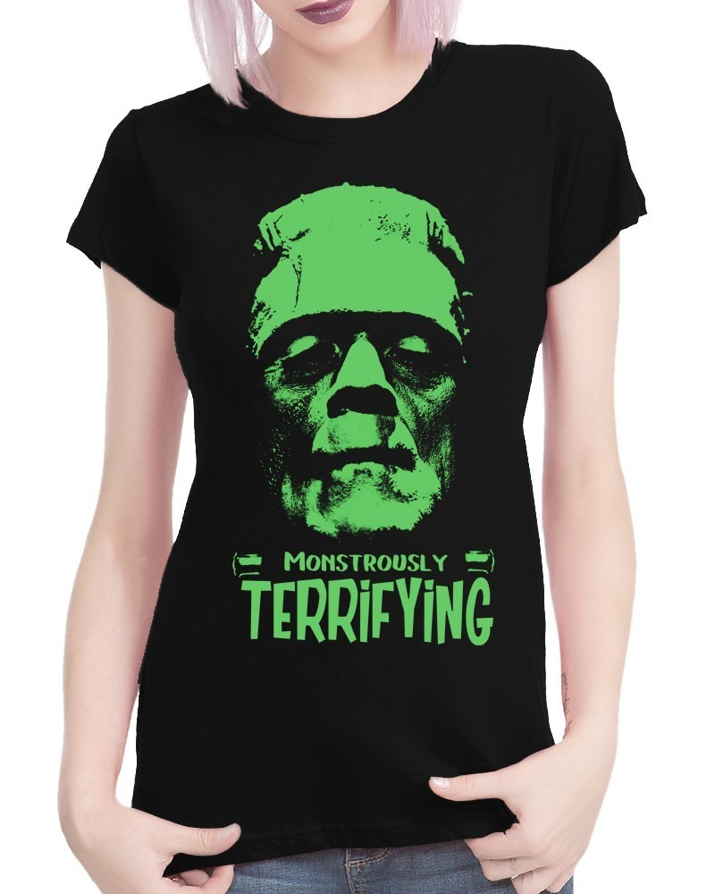 "Classic Horror Character: Frankenstein ""Terrifying"" - Ladies Black Tee Shirt"