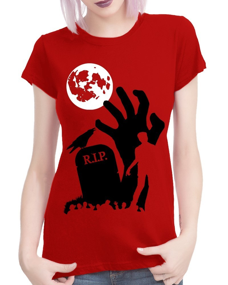 "Halloween: Zombie ""RIP"" - Ladies Red Tee Shirt"