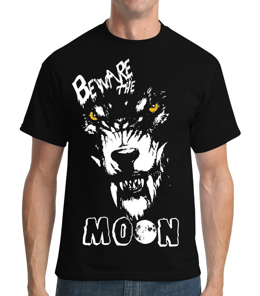 "Halloween: Werewolf ""Beware of the Moon"" - Mens Black Tee Shirt"
