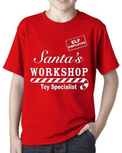 Santas Workshop Toy Specialist Employee - Childs Red Tee Shirt