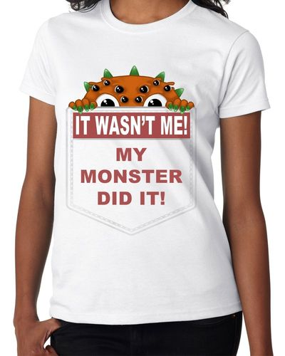 It Wasn't Me My Monster Did It - Orange - Childs White Tee Shirt