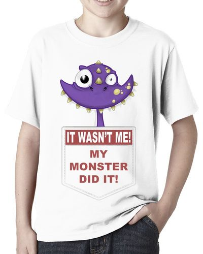 It Wasn't Me My Monster Did It - Purple - Childs White Tee Shirt